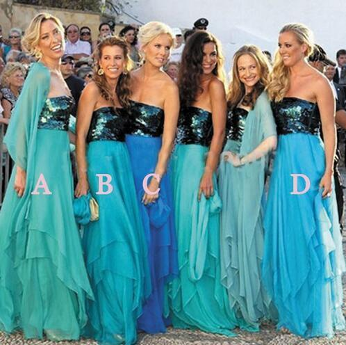 mismatched turquoise blue bridesmaid dresses long sparkly sequin chiffon cheap