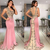 modest evening dresses long pink lace applique beaded v neck sexy formal dresses