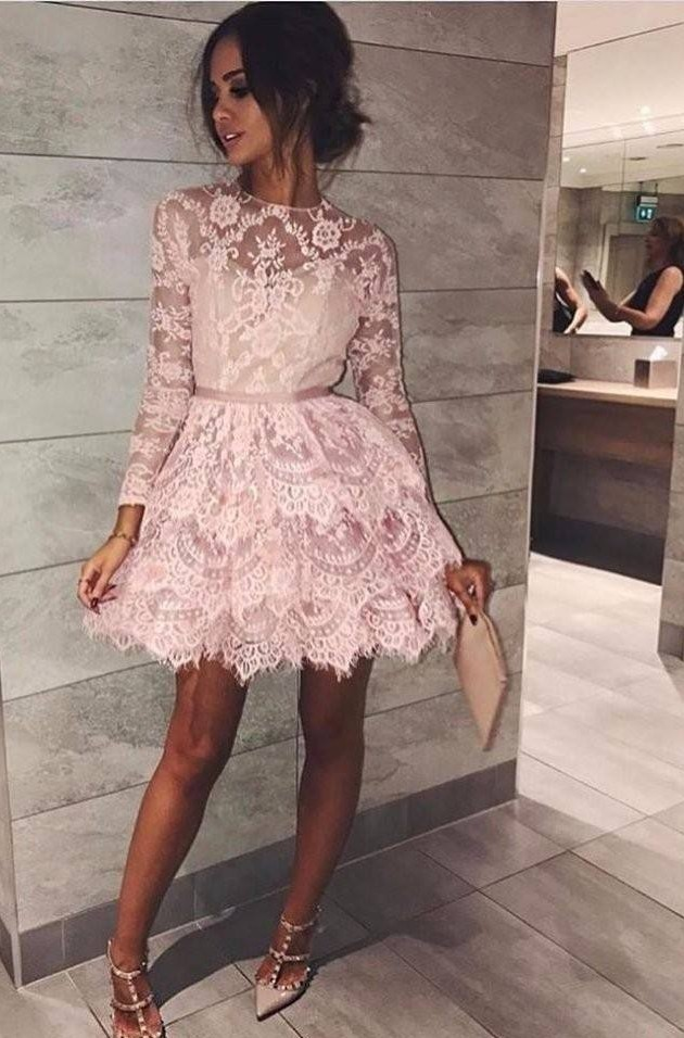 pink lace prom dresses short tiered applique elegant cheap graduation dresses