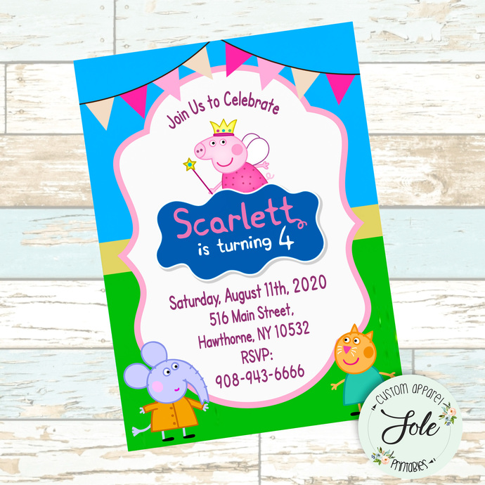 Peppa Pig Birthday Party Invitation- Digital File- NO Instant Download!