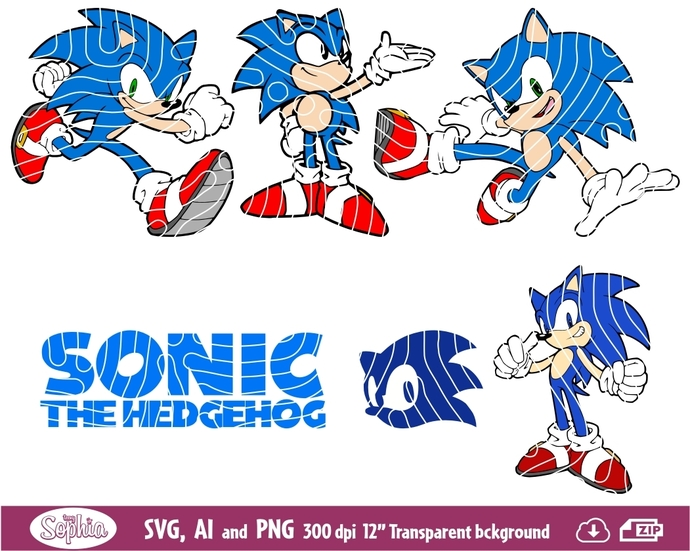 Sonic The Hedgehog 6 cliparts, Svg File for cutting machine, Ai and Png file to