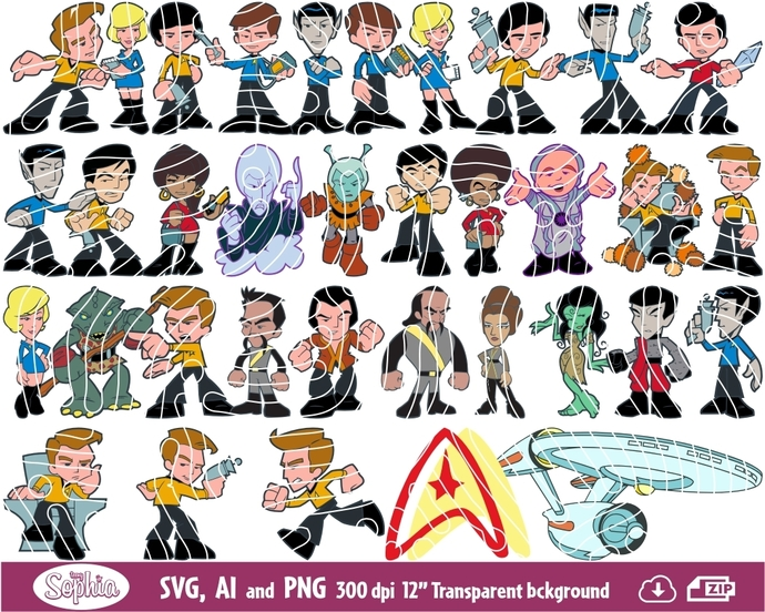 Star Trek 40 cliparts, Svg File for cutting machine, Ai and Png file to direct