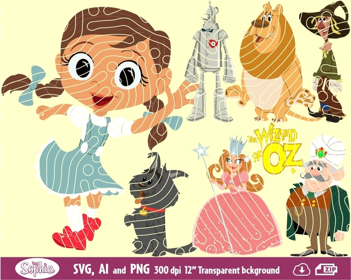 Wizard of Oz 8 cliparts, Svg File for cutting machine, Ai and Png file to direct