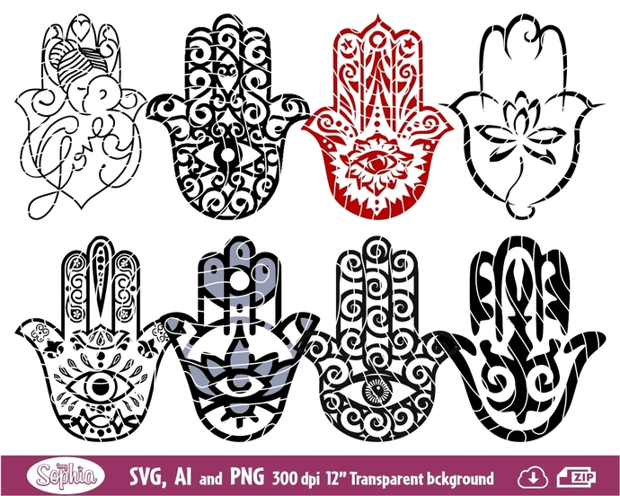 Hamsa hand 8 cliparts, Svg File for cutting machine, Ai and Png file to direct