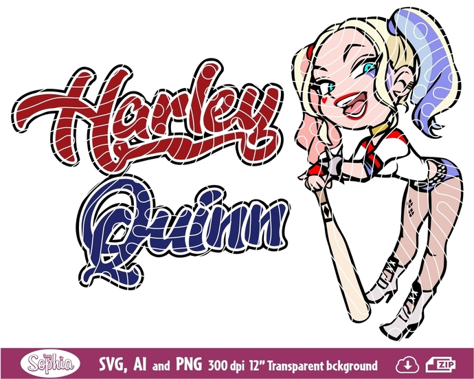 Harley Quinn, harlequin 3 cliparts, Svg File for cutting machine, Ai and Png