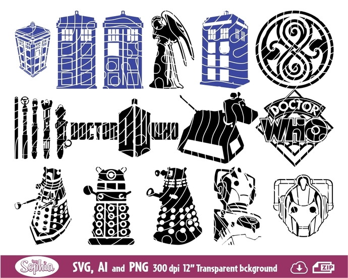 Doctor Who 16 cliparts, Svg File for cutting machine, Ai and Png file to  direct