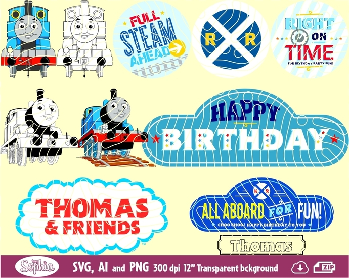 Thomas Train and decorative signs 11 cliparts, Svg File for Cricut machine, plus