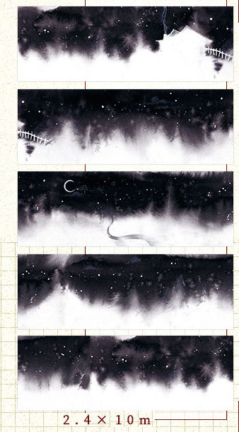 1 Roll of Limited Edition Washi Tape: Snowy Moon Night