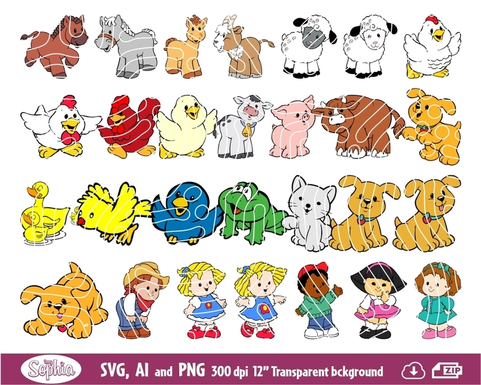 Farm and barn animals 35 cliparts, Svg File for cutting machine, Ai and Png file