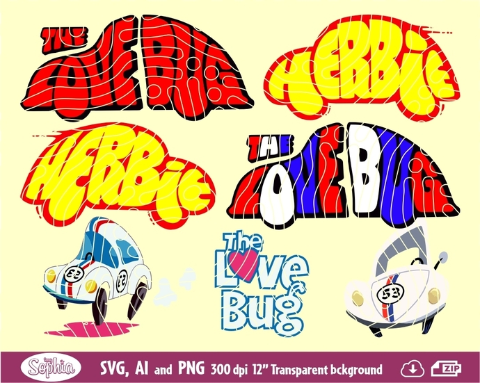 Herbie, the Love Bug 7 cliparts, Svg File for cutting machine, Ai and Png file
