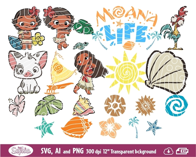 Moana baby 20 cliparts, Svg File for cutting machine, Ai and Png file to direct