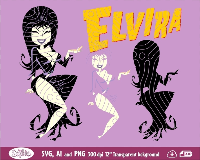 Elvira 2 cliparts, Svg File for cutting machine, Ai and Png file to direct print