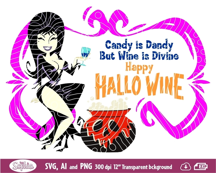 Elvira halloween 1 cliparts, Svg File for cutting machine, Ai and Png file to