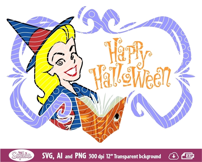Bewitched Halloween 1 clipart, Svg File for cutting machine, Ai and Png file to