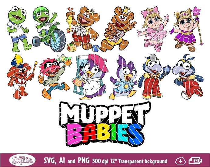 Muppet Babies 12 Clipart, format Svg File for Cricut, Ai and Png file to direct
