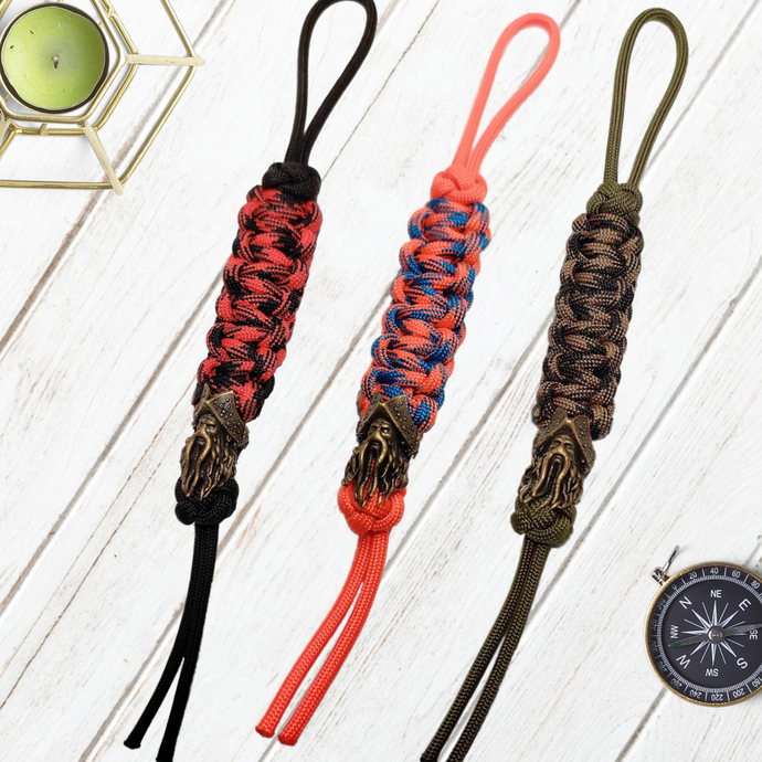 550 Paracord Survival Keychain With Caribbean Pirates David Jones Brass Paracord