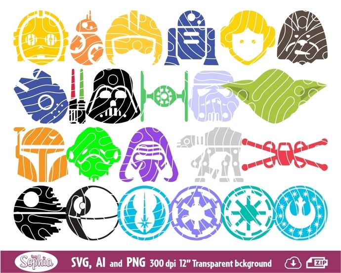 Star Wars set of 26 icons cliparts, Star Wars Wall Art, Minimal Star Wars