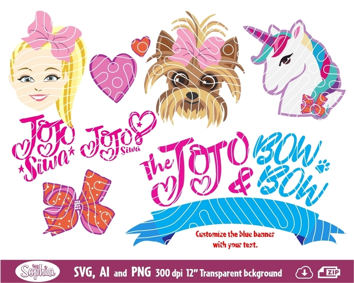 Jojo Siwa & Bow Bow 5 Cliparts and logos, Svg File for Cricut, Ai and Png file