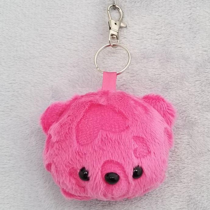 CHUBBY BEAR HEAD KEY-CHAIN: Hot Pink Embossed Hearts