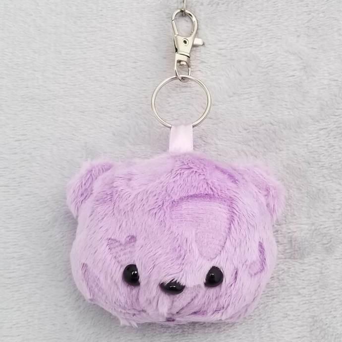 CHUBBY BEAR HEAD KEY-CHAIN: Light Purple Embossed Hearts