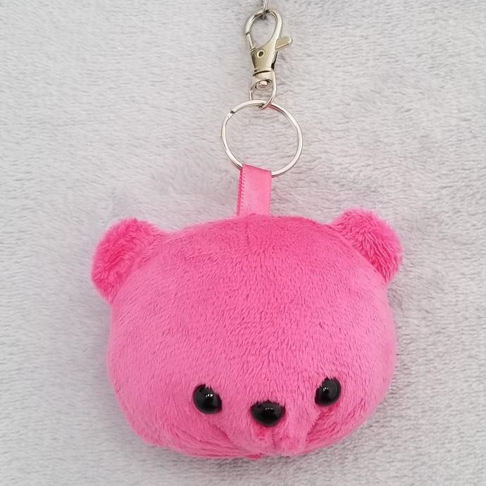 CHUBBY BEAR HEAD KEY-CHAIN: Hot Pink