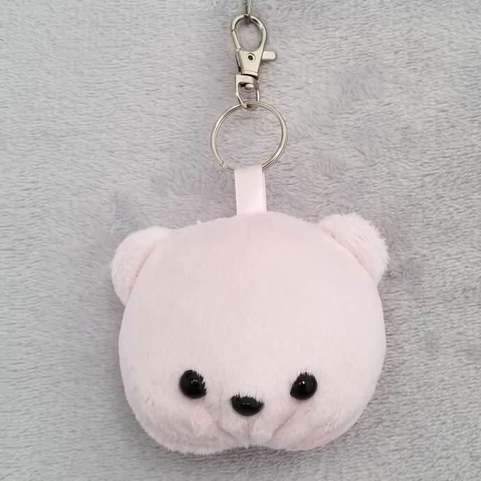 CHUBBY BEAR HEAD KEY-CHAIN: Light Pink