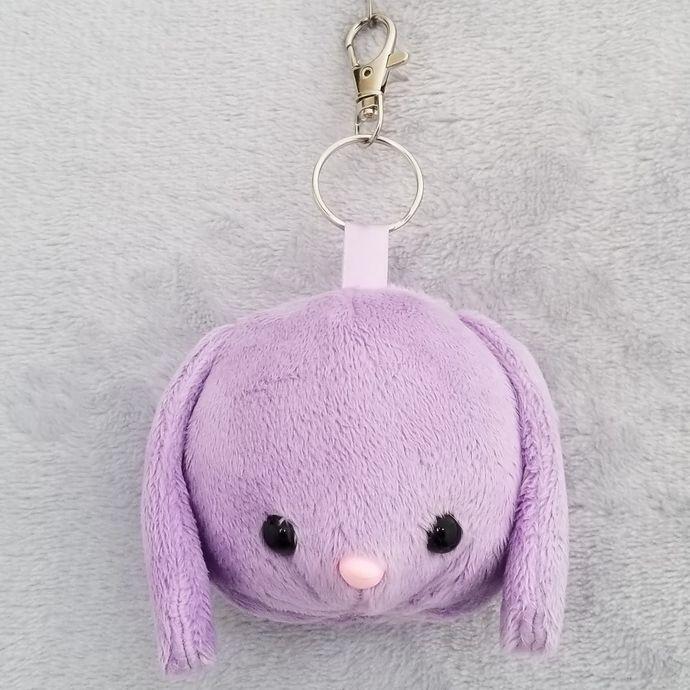 CHUBBY BUNNY HEAD KEY-CHAIN: Light Purple