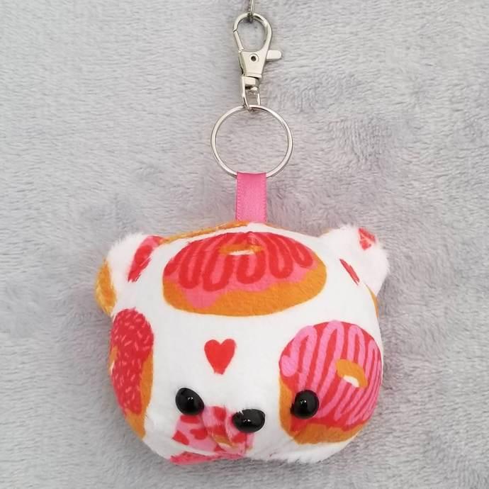 CHUBBY BEAR HEAD KEY-CHAIN: Love Donuts (Keychain 2)