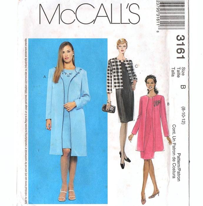 McCall's 3161 Misses Long Jacket, Dress Sewing Pattern Uncut Size 8, 10, 12 Bust