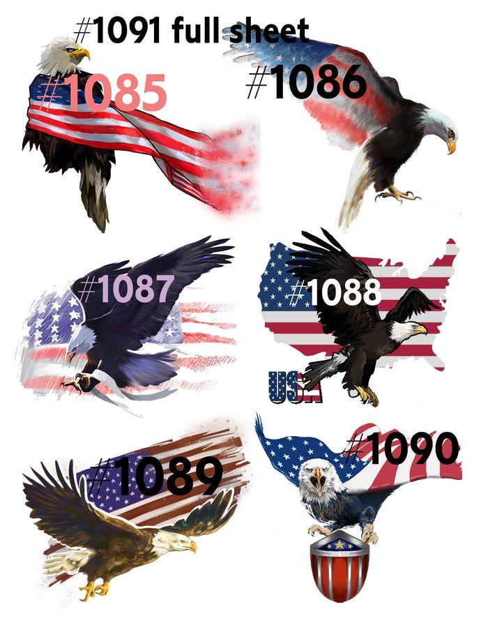 Waterslides Patriotic Eagles #1085 - #1091 Laser Printed