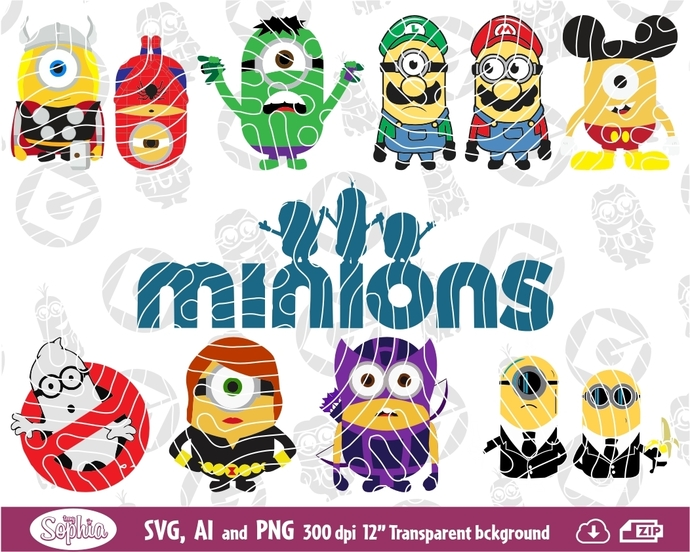 Minions superheros 11 Cliparts, funny, format Svg File for Cricut, Ai and Png