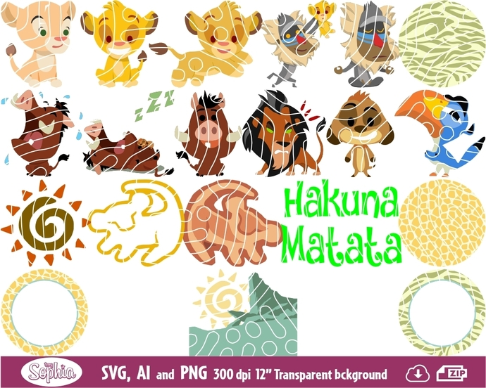 Baby Lion King 20 cliparts, Svg File for Cricut, Ai and Png file to direct print