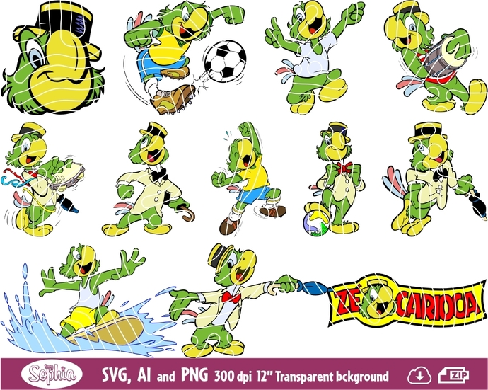 Joe Carioca 12 cliparts, Svg File for Cricut, Ai and Png file to direct print or