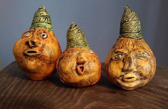 A Halloween Friend - Pumpkin Gourd - Paper Clay - Autumn Decoration