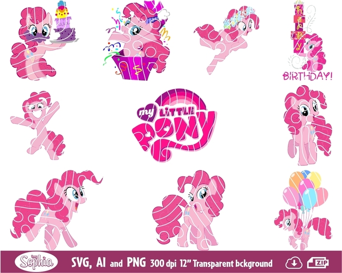 My Little Pony Pinkie Pie 11 cliparts, Svg File for Cricut, Ai and Png file to