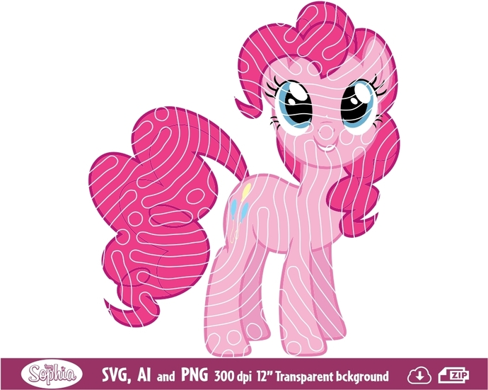 My Little Pony Pinkie Pie 1 clipart, Svg File for Cricut, Ai and Png file to