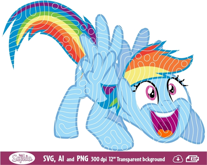 My Little Pony Twilight Sparkle Rainbow Dash 1 clipart, Svg File for Cricut,