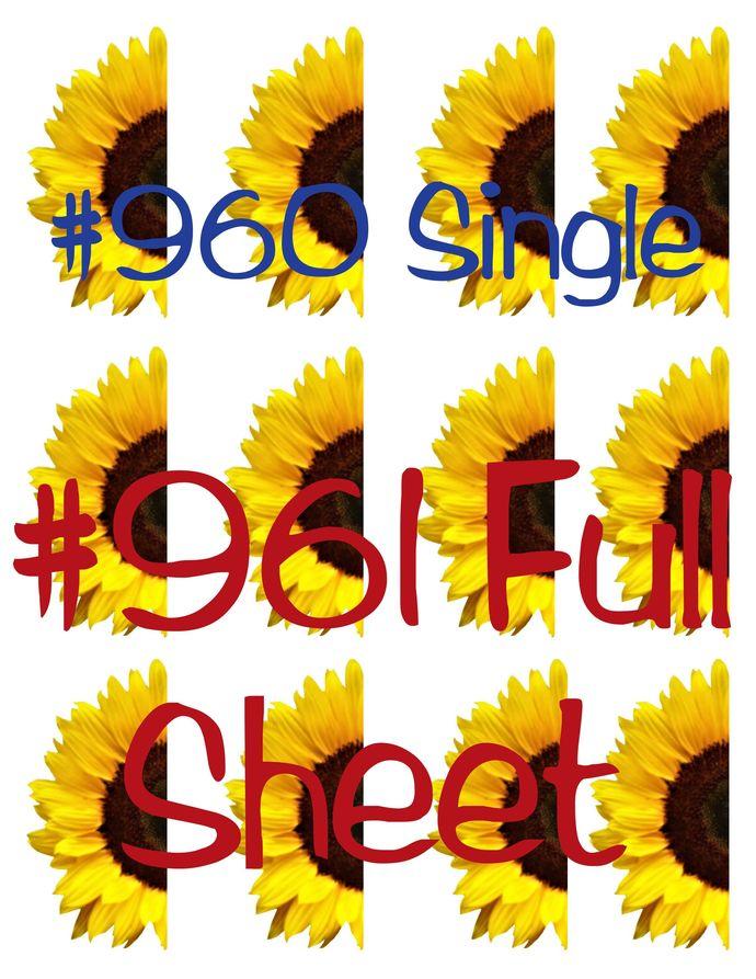 Waterslides Half  Sunflower #960 - #961 Laser Printed