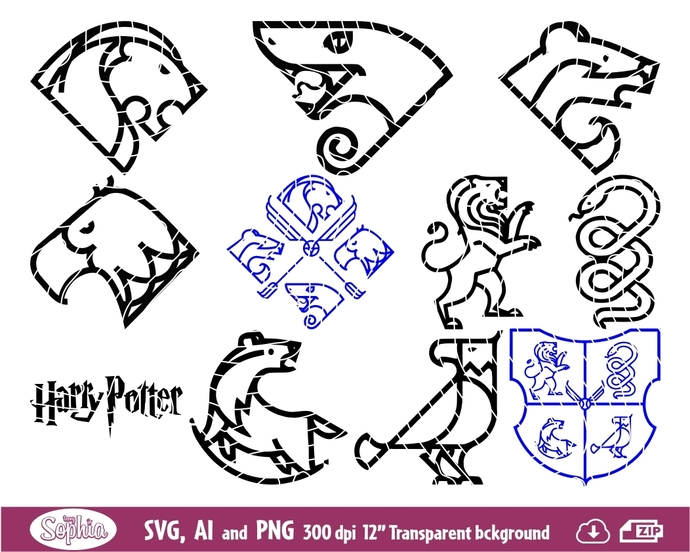 Harry Potter Houses minimal Tattoo 10 cliparts, Svg File for cutting machine, Ai