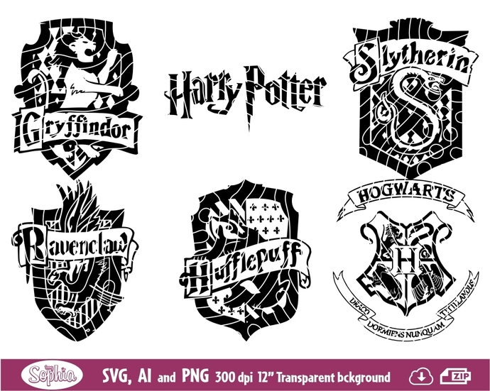 Harry Potter Houses 6 cliparts, Svg File for cutting machine, Ai and Png file to