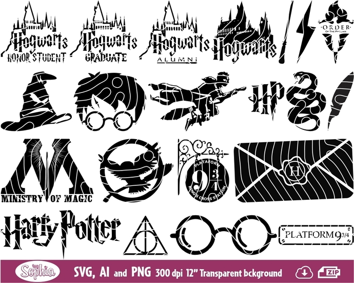 Harry Potter symbols 22 cliparts, Svg File for cutting machine, Ai and Png file