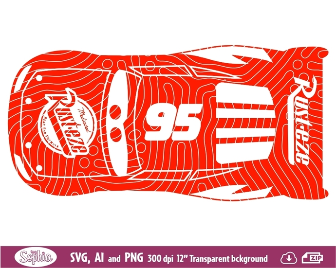 Cars Lightning McQueen 1 Clipart, Svg File for cutting machine, Ai and Png file