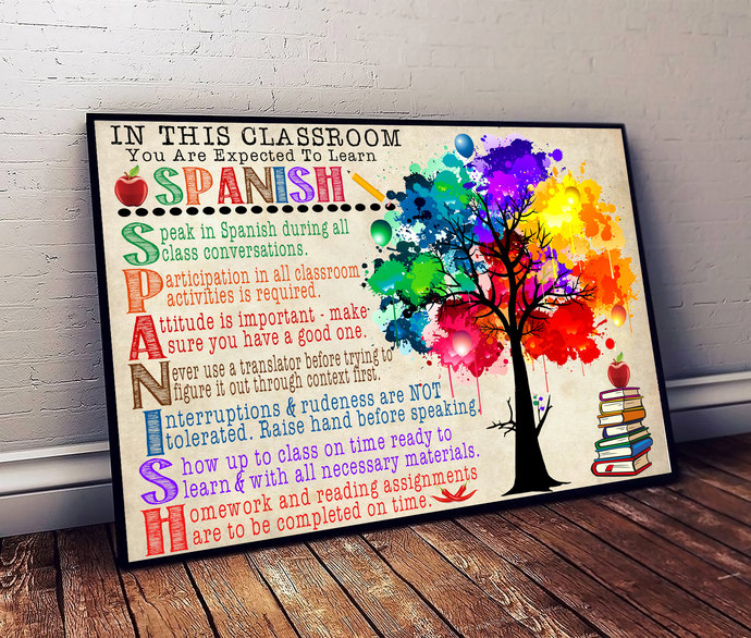 In This Classroom You Are Expected To Learn Spanish Typography, Home Decor,