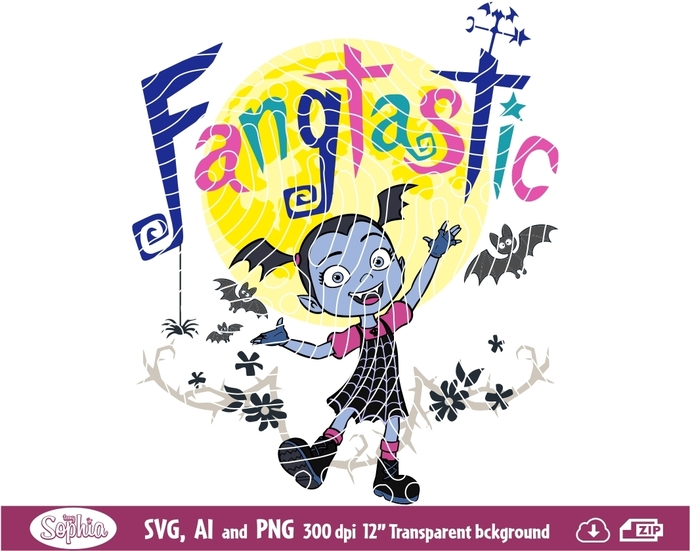 Vampirina Clipart, Svg File for cutting machine, Ai and Png file to direct print
