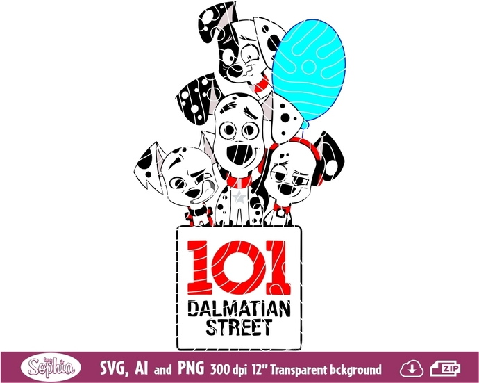 101 Dalmatian Street 1 clipart, Svg File for cutting machine, Ai and Png file to