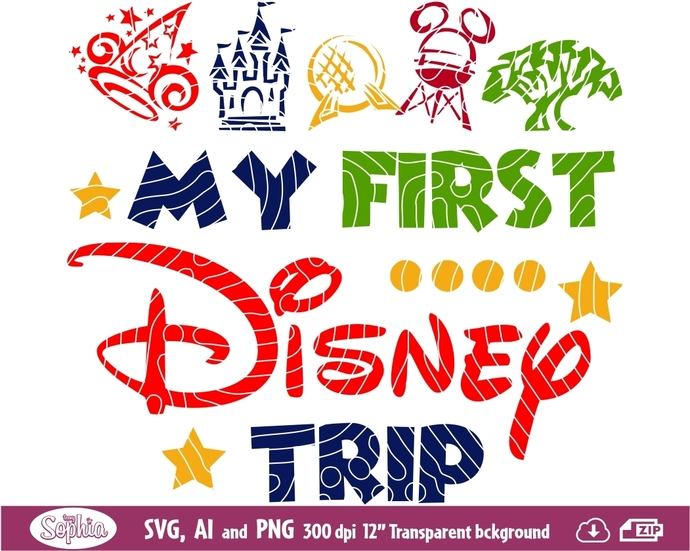 My First Disney Trip 1 clipart, format Svg File for cutting machine, Ai and Png