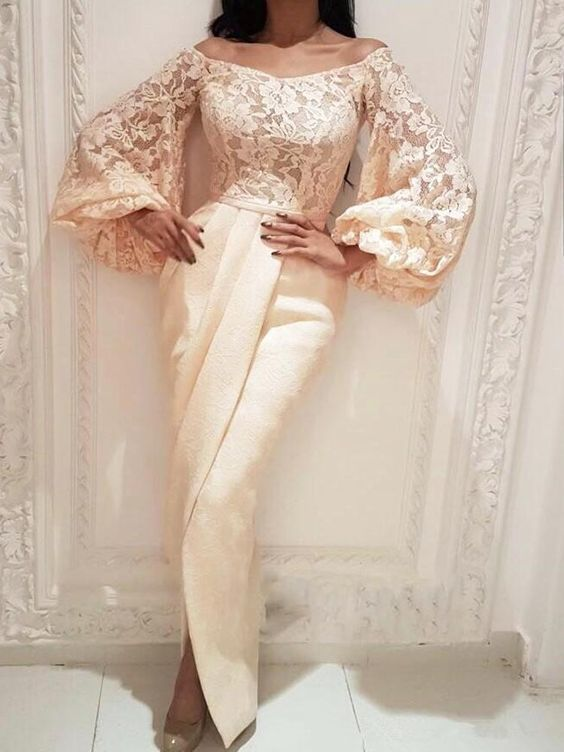 flare sleeve evening dresses long lace appliqué champagne mermaid pleated formal