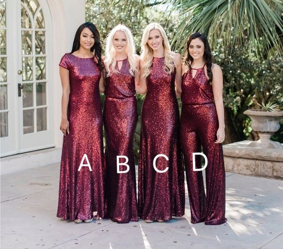 sparkly wedding party dresses Burgundy sequin mismatched long cheap bridesmaid