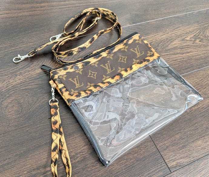 Customized altered clear LV bag - LV leopard clear bag - Louis Vuitton clear bag