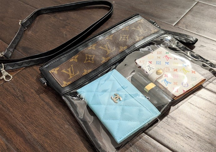 Customized altered clear LV bag - LV black clear bag - Louis Vuitton clear bag -